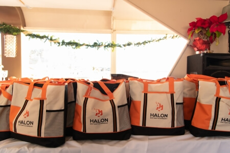 Gifts for employees at corporate event holiday party shot by Los Angeles event photographer Jezrel White